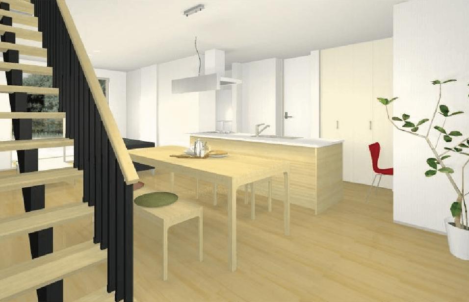 オープンキッチンスタイル(ゾーン収納&分散配置)